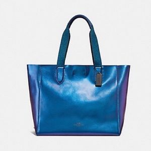 Coach Metallic Large Derby Leather Tote Hologram